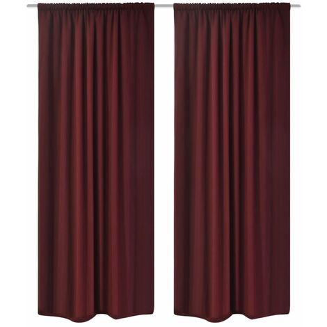 2 pcs Bordeaux Energy-saving Blackout Curtains Double Layer 140x245cm