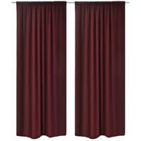 2 pcs Bordeaux Energy-saving Blackout Curtains Double Layer 140x245cm