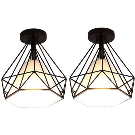 "main image of ""2 pcs Ceiling lamp metal cage industrial retro bedroom creative modern living room cafe decoration lights Ø25cm - Black"""