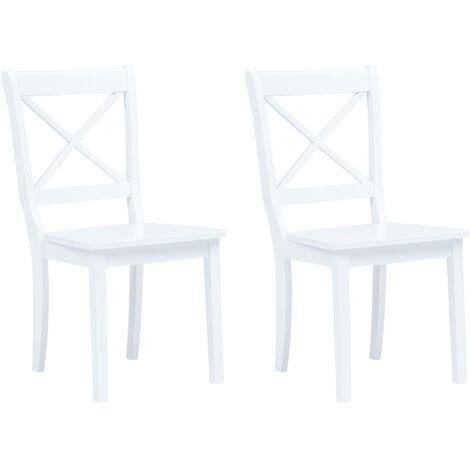2 pcs Chaises de salle à manger Blanc Bois d'hévéa massif