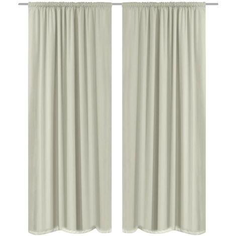 2 pcs Cream Energy-saving Blackout Curtains Double Layer 140 x 245 cm