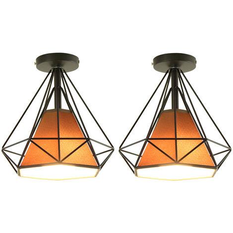 "main image of ""2 pcs Diamond cage ceiling lamp with creative individuality, Ø25cm metal retro industrial lights decorative bathroom bar living room - Black"""