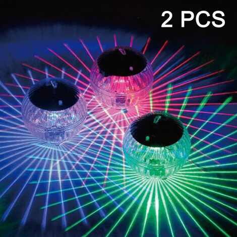 2 Pcs Floating Pool Lights Solar Battery Powered Flowers Inflatable Waterproof Glow Globe,Outdoor Pool Ball Lamp Colourful Changing LED Night Light Party Wedding Decor for Swimming