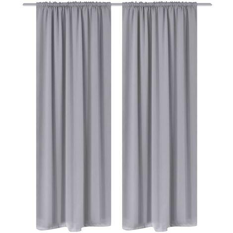 2 pcs Grey Slot-Headed Blackout Curtains 135 x 245 cm