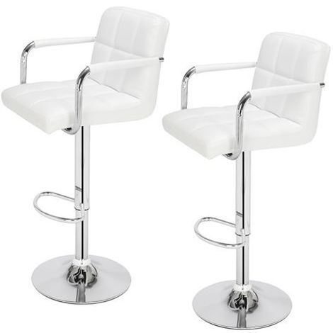 2 pcs Height Adjustable Swivel Bar Stool Bar Chair With Backrest - Different colours