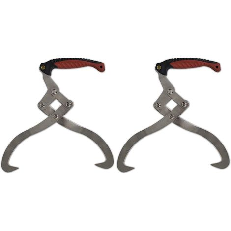 2 pcs Log Tongs with TPR Handle