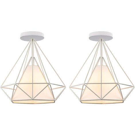 "main image of ""2 pcs Modern indoor lighting ceiling lamp diamond iron cage restaurant kitchen bar ceiling light Ø25cm - White"""