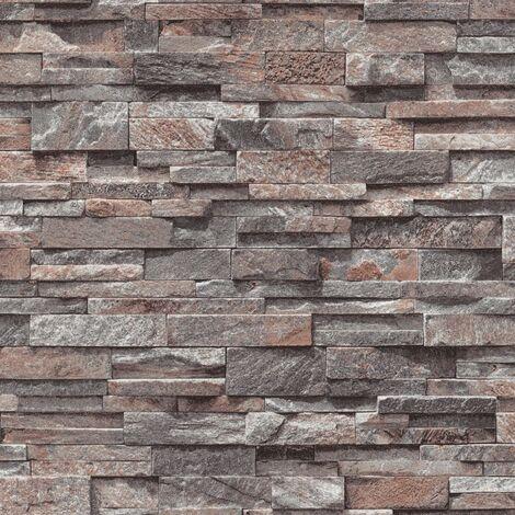 2 pcs Non-woven Wallpaper Rolls Dark Grey 0.53x10 m Brick