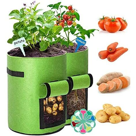 2 Pcs Potato Planting Bag, 7 Gallons Non-woven Garden Planting Bag, Potato Bag with Window and Handle, Large Garden Bag for Strawberries, Tomatoes, Vegetables