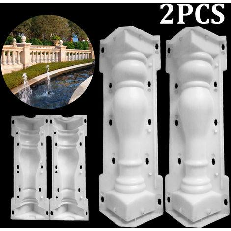 2 PCS / Set Moldes de barandillas Molde de columna romana Molde de valla de balcón Moldeado de hormigón Moldeado de cemento