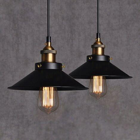 2 pcs STOEX Lampara Colgante Vintage Industrial Luz Metal Iluminación Retro Clásico Edison Lámpara de Techo Moderna decoracion, (Negro)