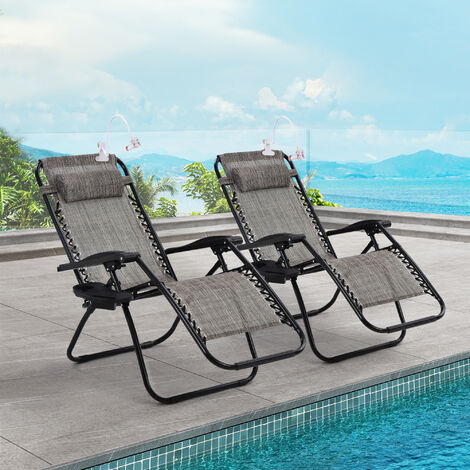 2 pcs Sun Lounger Garden Chairs Heavy Duty Textoline Zero Gravity Folding Reclining Chairs With Cup Holders, Lazy Holder For Phone, Grey
