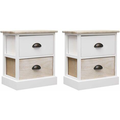 2 pcs Tables de chevet Blanc et naturel 38x28x45 cm Paulownia