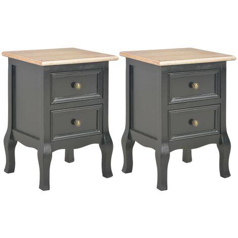 2 pcs Tables de chevet Noir 35x30x49 cm MDF