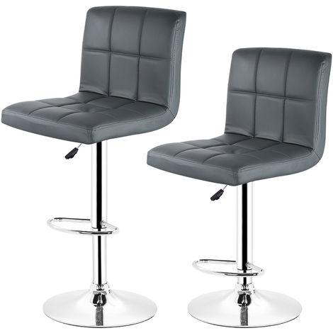 2 pcs tabourets de bar chaise fauteuil américain en hauteur réglable gris