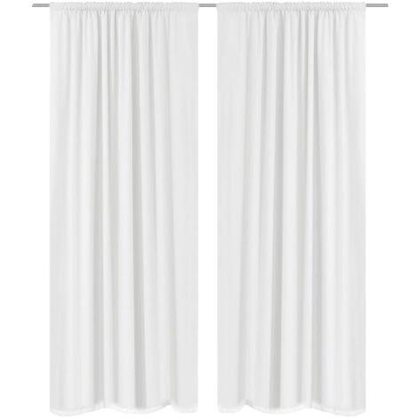 2 pcs White Energy-saving Blackout Curtains Double Layer 140 x 245 cm
