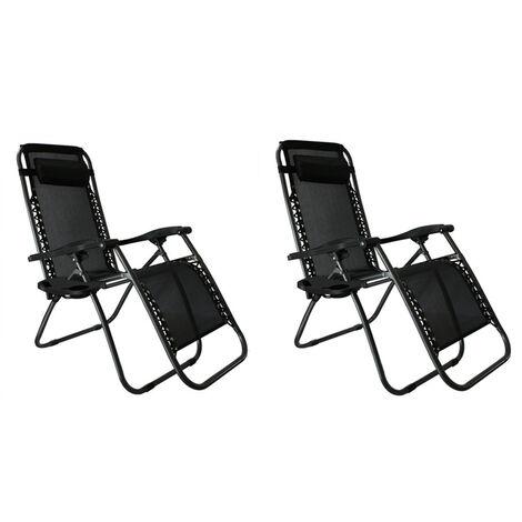 "main image of ""2 pcs zero gravity reclining sun loungers portable folding metal double recliner, home leisure garden camping recliner - Black"""