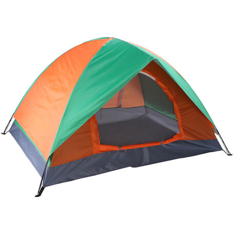 2-Person Double Door Camping Dome Tent Orange & Green