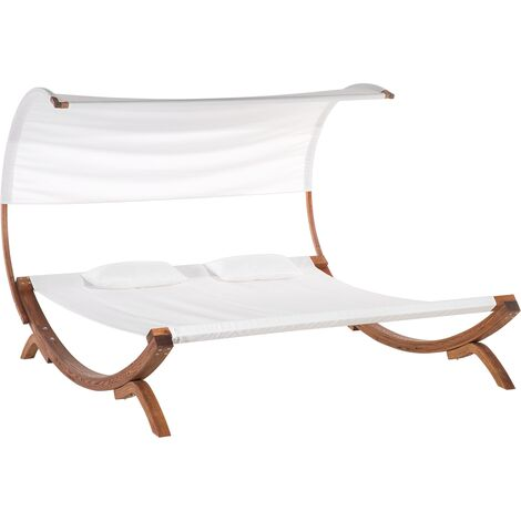 2-Person Garden Sun Lounger Off-White TERAMO