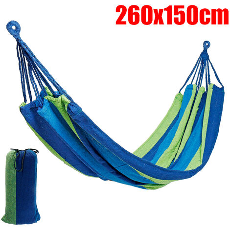 2 Person Outdoor Travel Camping Rope Hanging Hammock Swing Bed Hiking Sleep blue 260x150CM