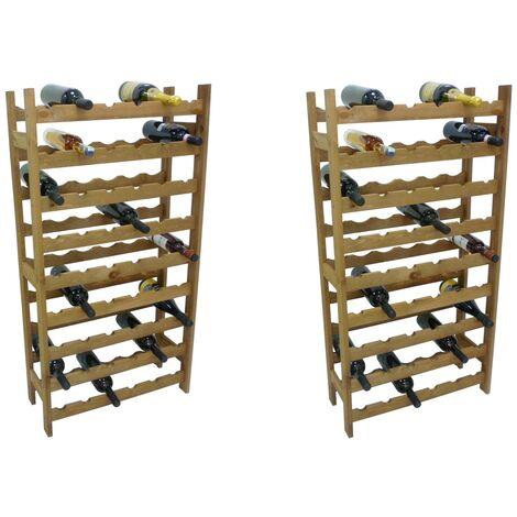 """main image of """"2 pezzi porta bottiglie cantinetta in legno marrone 54 posti per vino cantina enoteca bar casa cucina ripostiglio"""""""