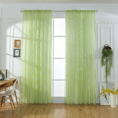 2 Piece Christmas Snowflake Curtain | Tulle Window Treatment, Voile Curtain, Wool Curtain, Christmas Decoration for Home
