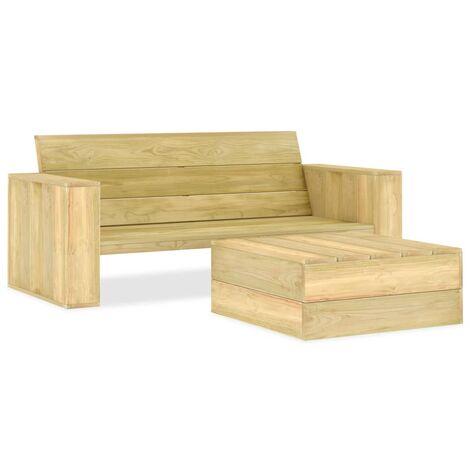 2 Piece Garden Lounge Set Impregnated Pinewood - Brown