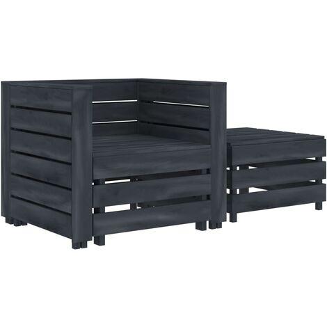 2 Piece Garden Pallet Lounge Set Grey Wood