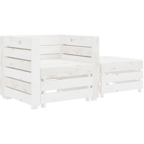 2 Piece Garden Pallet Lounge Set White Wood - White
