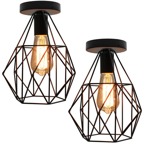 2 piece Industrial Iron Pendant Light Diamond Cage Ceiling Light Retro Chandelier for Cafe Bar Office Bedroom E27 Socket Black