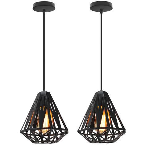 2 piece Modern Retro Hanging Light,Creative Diamond Ø20cm Ceiling Lamp Antique Pendant Light Black Industrial Metal Chandelier E27 Socket Iron Cage Lamp Shade