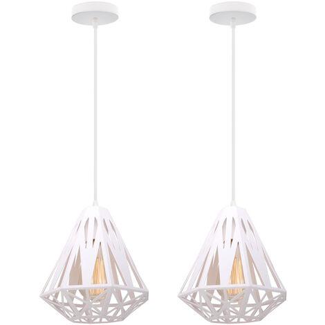 2 piece Modern Retro Hanging Light,Creative Diamond Ø20cm Ceiling Lamp Antique Pendant Light White Industrial Metal Chandelier E27 Socket Iron Cage Lamp Shade