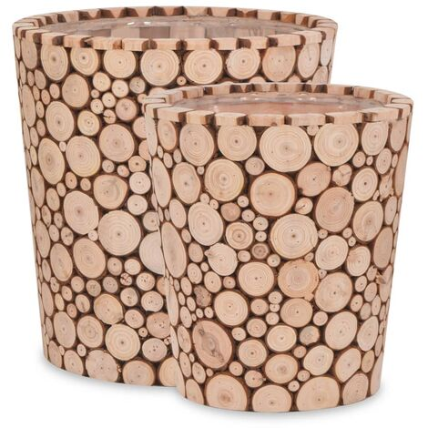 2 Piece Planter Set Genuine Fir Wood - Brown
