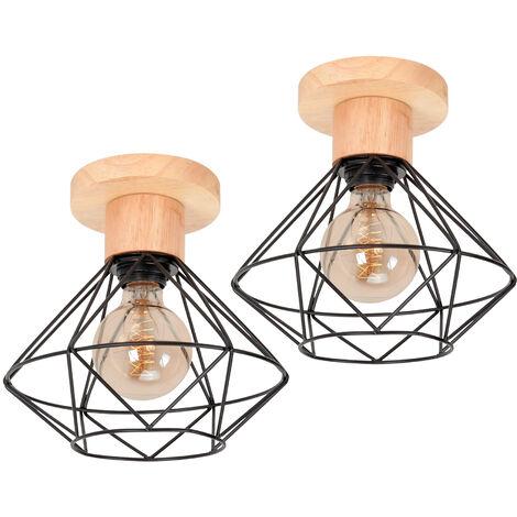 2 piece Retro Cage Pendant Light Black Industrial Creative Ceiling Lamp E27 Socket Vintage Hanging Light for Bedroom Cafe Adjustable Cable