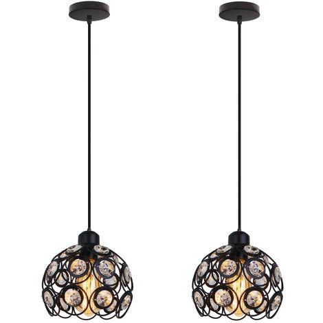2 piece Retro Classic Chandelier Modern Crystal Pendant Light Creative Metal Ceiling Lamp for Bedroom Bar Office Black Ø20cm