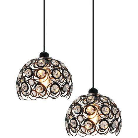 2 piece Retro Classic Chandelier Modern Crystal Pendant Light Creative Metal Ceiling Lamp for Bedroom Bar Office Black Ø26cm