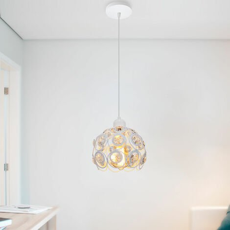 2 piece Retro Classic Chandelier Modern Crystal Pendant Light Creative Metal Ceiling Lamp for Bedroom Bar Office White Ø20cm