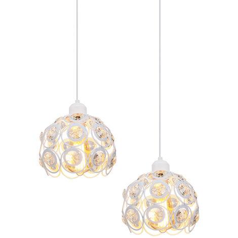 2 piece Retro Classic Chandelier Modern Crystal Pendant Light Creative Metal Ceiling Lamp for Bedroom Bar Office White Ø26cm