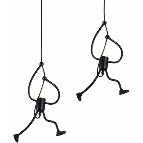 2 piece Retro Hanging Light Iron Ceiling Lamp Creative Modern Cartoon Design Pendant light for Kids Bedroom Bedside Black