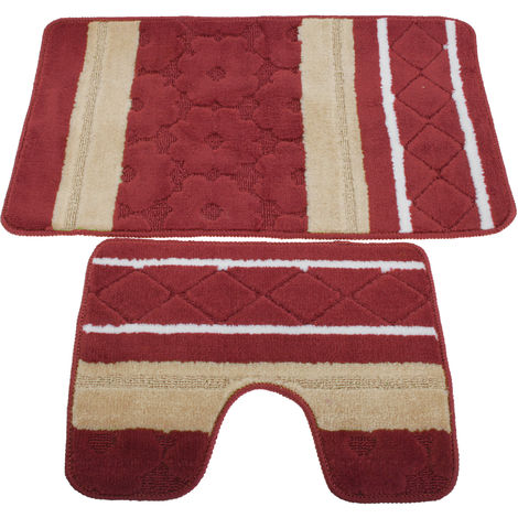 2 Piece Striped Bath Mat/Rug & Pedestal Mat Set