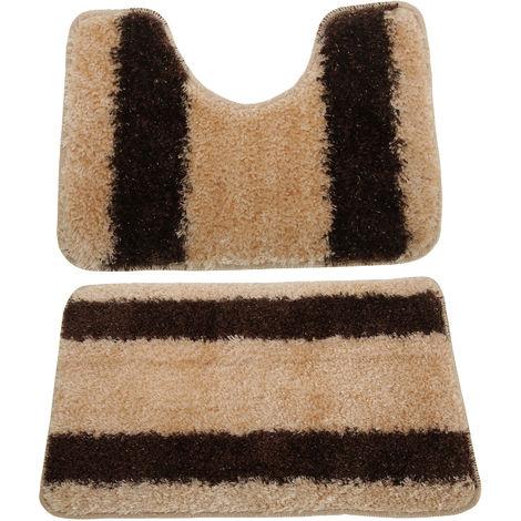 2 Piece Striped Shaggy Bath Mat And Pedestal Mat Set (One Size) (Cream/Brown)