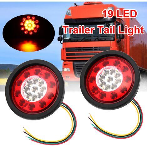 2 pièces 12 V / 24 V rond 19 LED arrêt de frein clignotant feu arrière lampe de course camion remorque camion