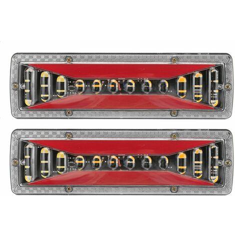 2 pièces 12 V LED dynamique voiture camion feu arrière clignotant frein arrière ight lampe de Signal inverse pour remorque camion Bus campeurs