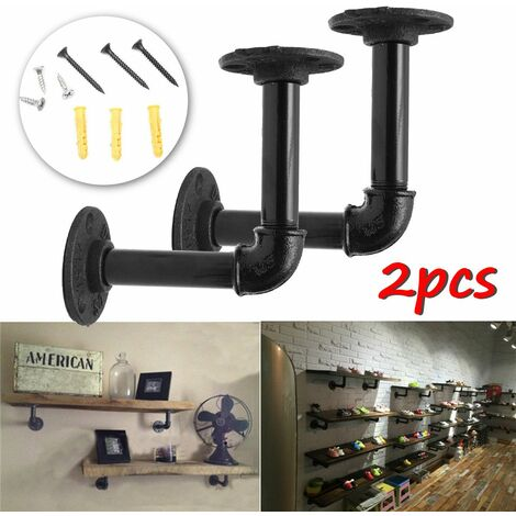 2 pièces 12x12cm supports d'étagère de tuyau support d'étagère industrielle pour étagère de livre étagères flottantes plomberie étagère de tuyau pour panneau d'échafaudage