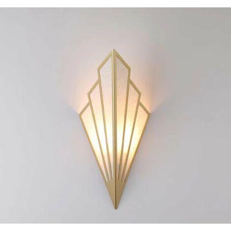 2 pièces Applique murale à LED couloir couloir lampe d'escalier de style européen chambre hôtel lampe de chevet lampe murale créative intérieure en forme d'éventail, or(2pcs)lumière chaude