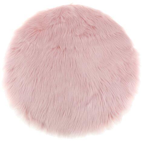 2 pièces coussin de siège en fausse fourrure tapis en peau de mouton artificielle rose 35 cm