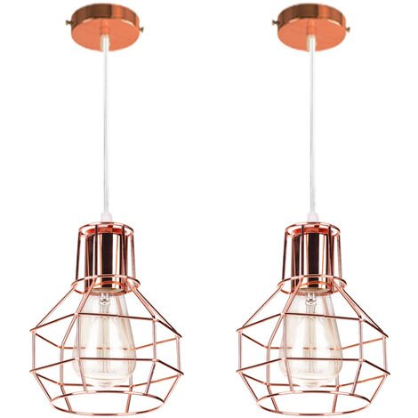 2 pieces Creative Cage Pendant Lamp Modern Retro Hanging Light Rose Gold Industrial Ceiling Lamp for Cafe Loft 15CM