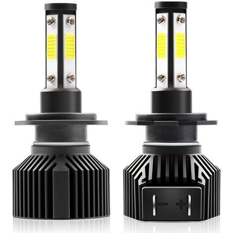 2 Pieces D'Ampoule De Phare Led De Voiture Etanche M6, Kit De Conversion Integre Pour Eclairage De Conduite Led, Support De Lampe H7, 50W