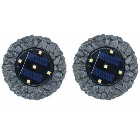 2 pièces de lumières solaires enterrées lampes en pierre 5LED résine enterrée lumières cour extérieure enterrée pelouse lumières simulation pierre lumières (récif