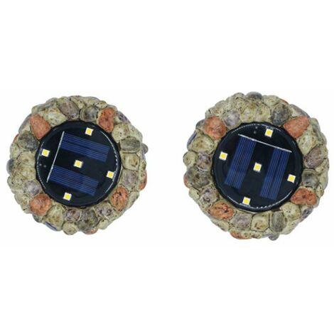 2 pièces de lumières solaires enterrées lumières en pierre 5LED résine enterrée lumières cour extérieure cour extérieure enterrée pelouse lumières simulation pierre lumières